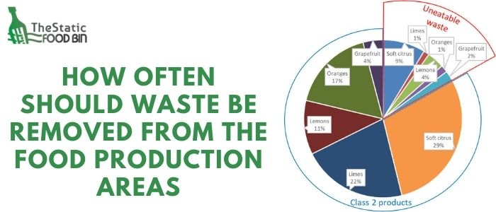 How often should waste be removed from the food production areas