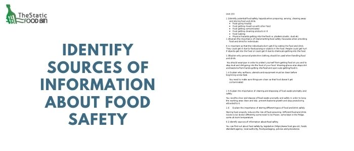 Identify sources of information about food safety