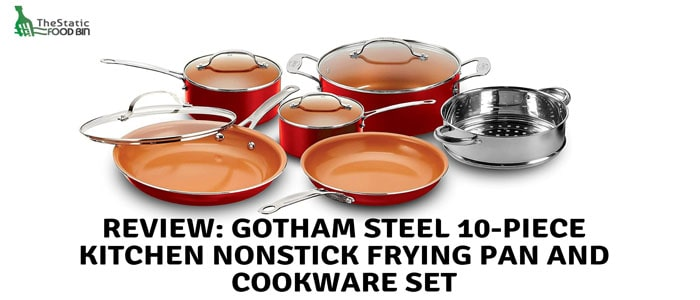 Review Gotham steel 10-piece kitchen nonstick frying pan and cookware set